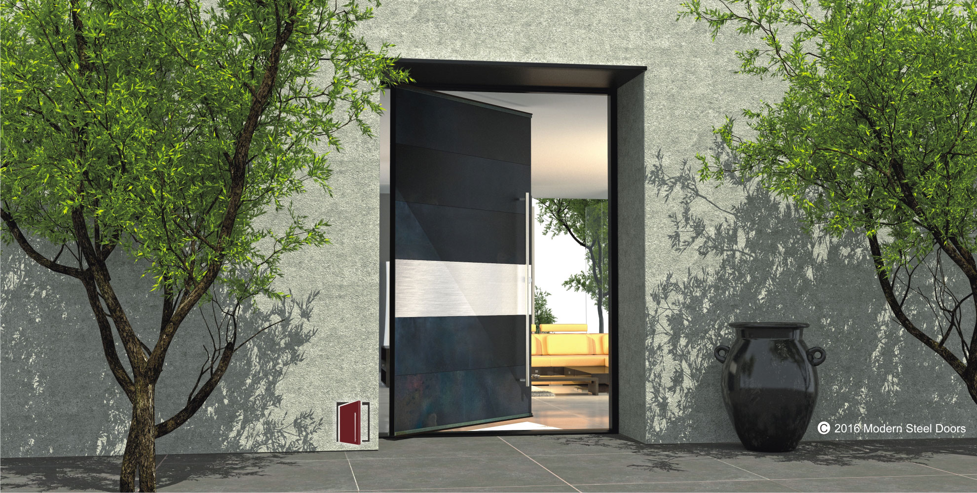 1000 #647938  Paneled Blackened Stainless Metal Door With 1 Brushed Stainless  save image Stainless Steel Entrance Doors 47371980