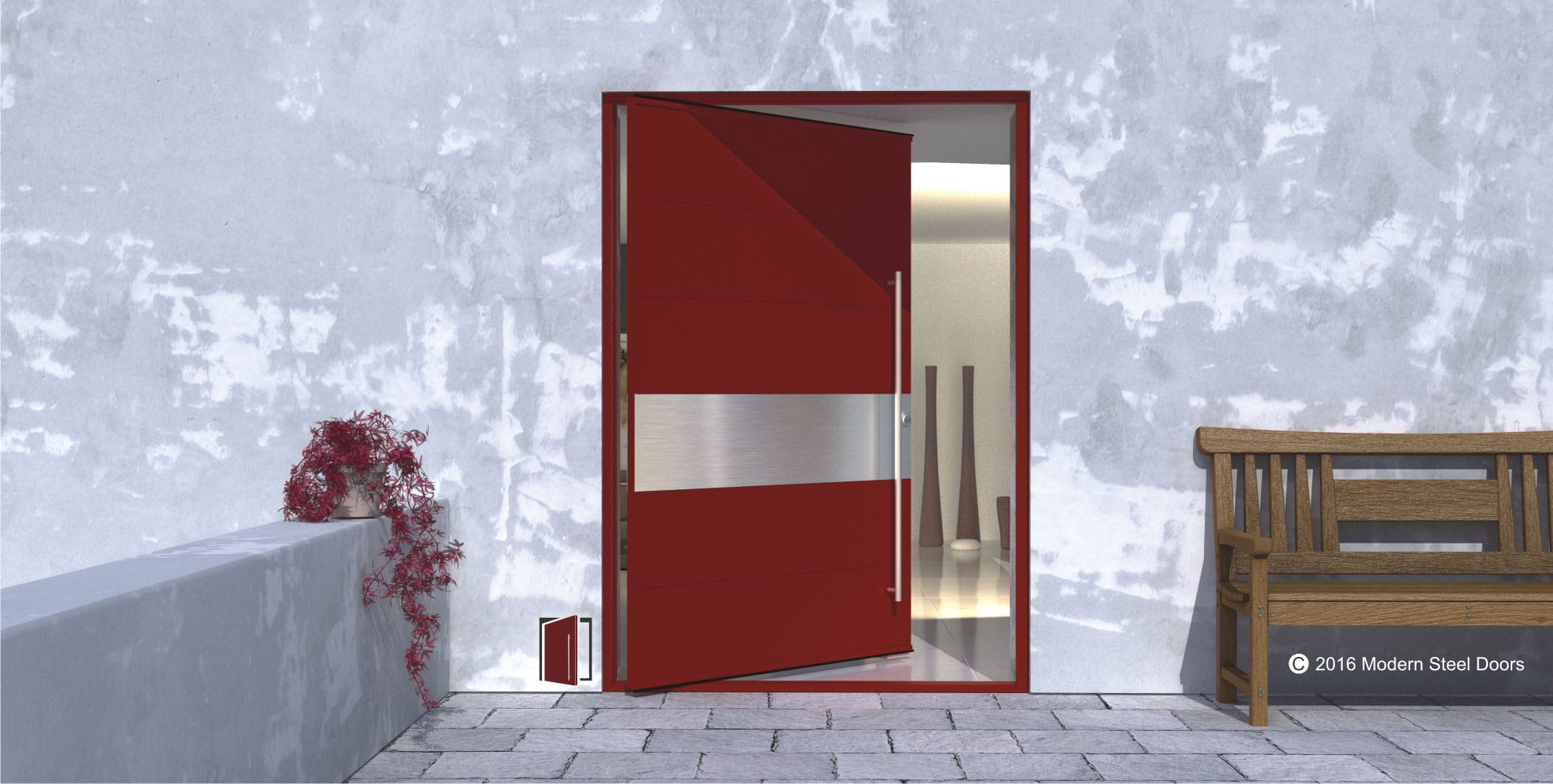 6 Horizontally Paneled Red Metal Door with 1 Brushed Stainless Accent Panel \u0026 Brushed Stainless Pulls & 6 Horizontally Paneled Red Metal Door with 1 Brushed Stainless ... Pezcame.Com