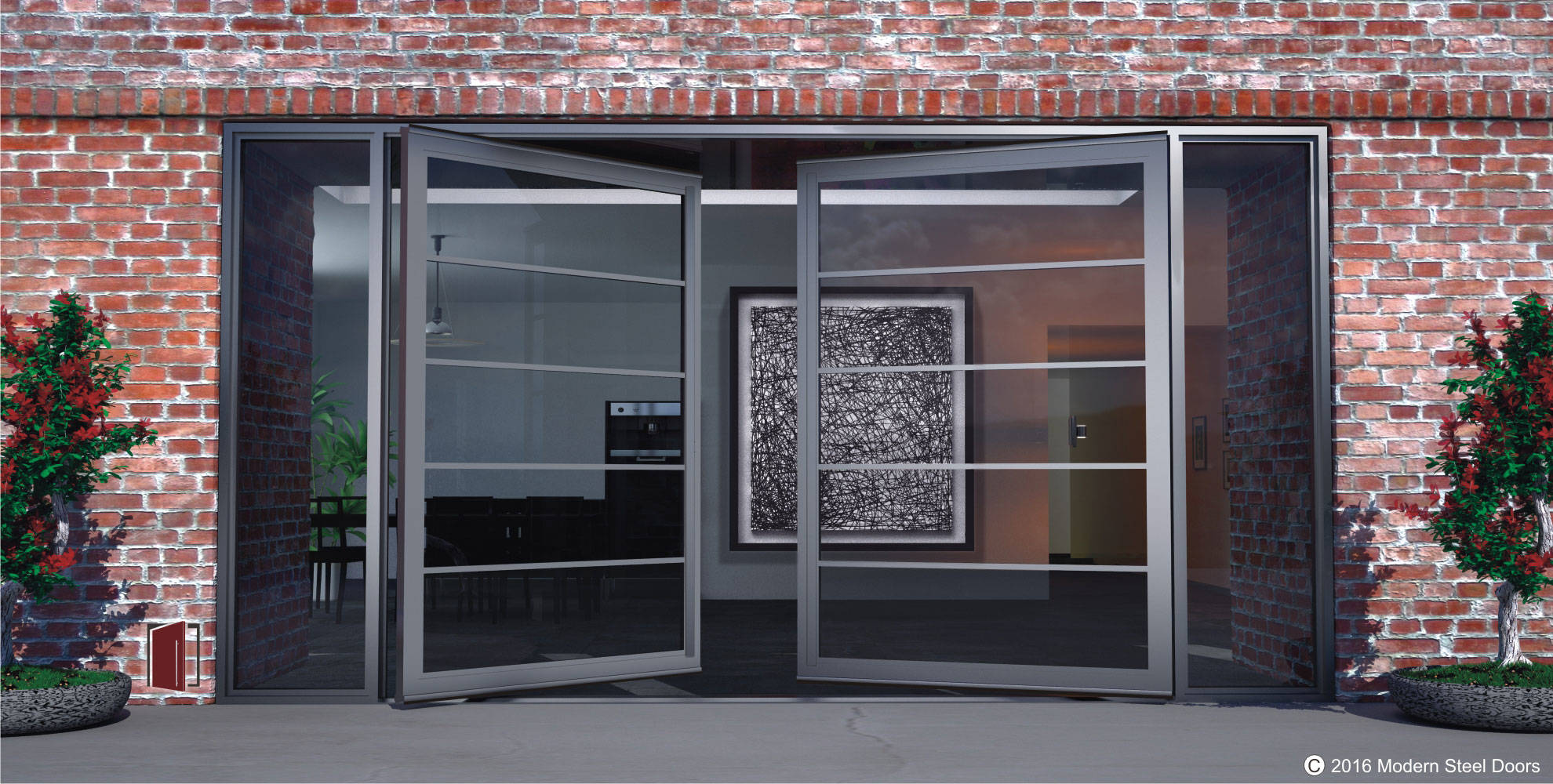 Exterior glass doors, front glass doors, pivoting steel doors with segmented glass panels double opening.
