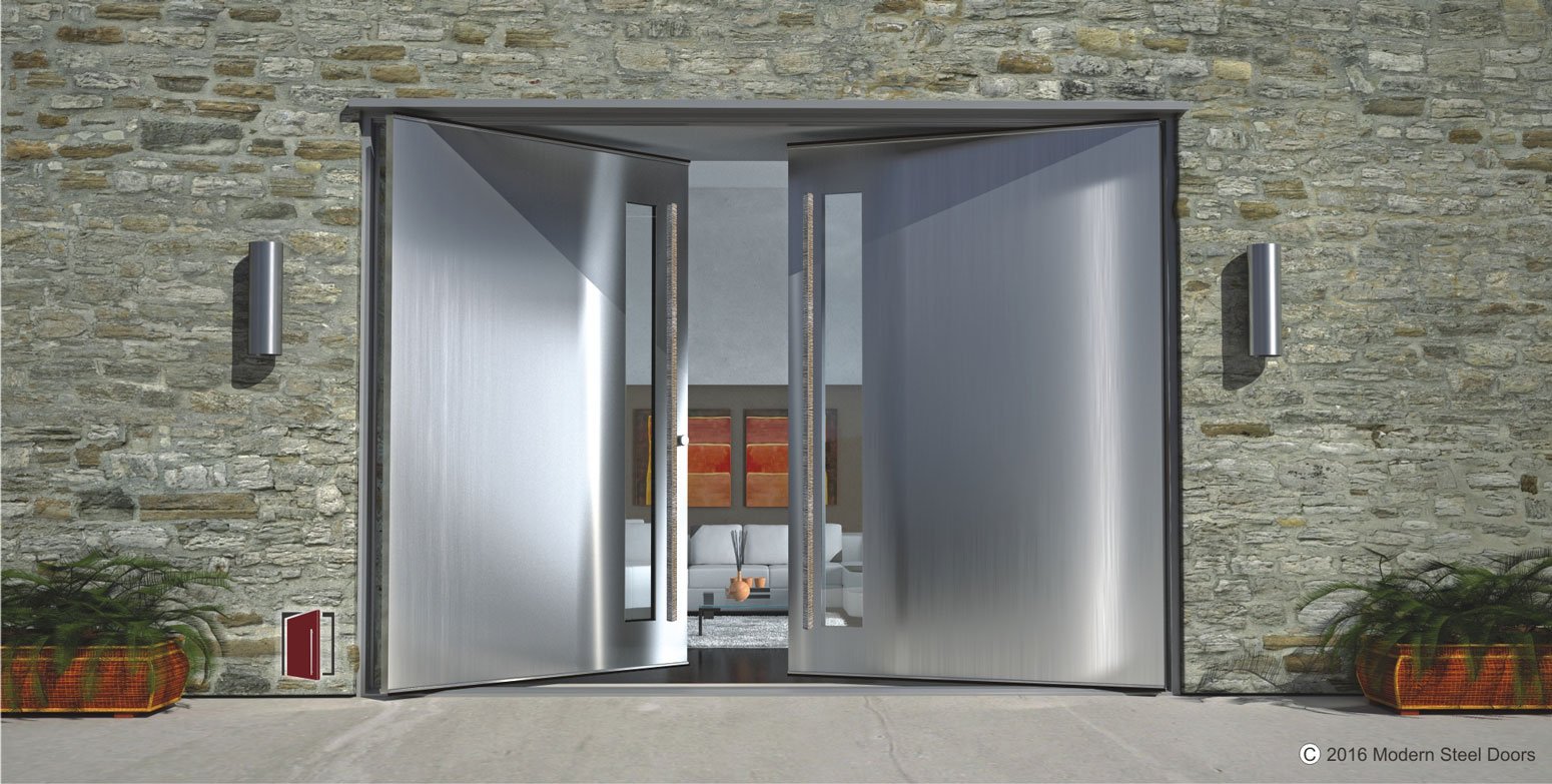 Brushed stainless double door with square polished for Double steel entry doors