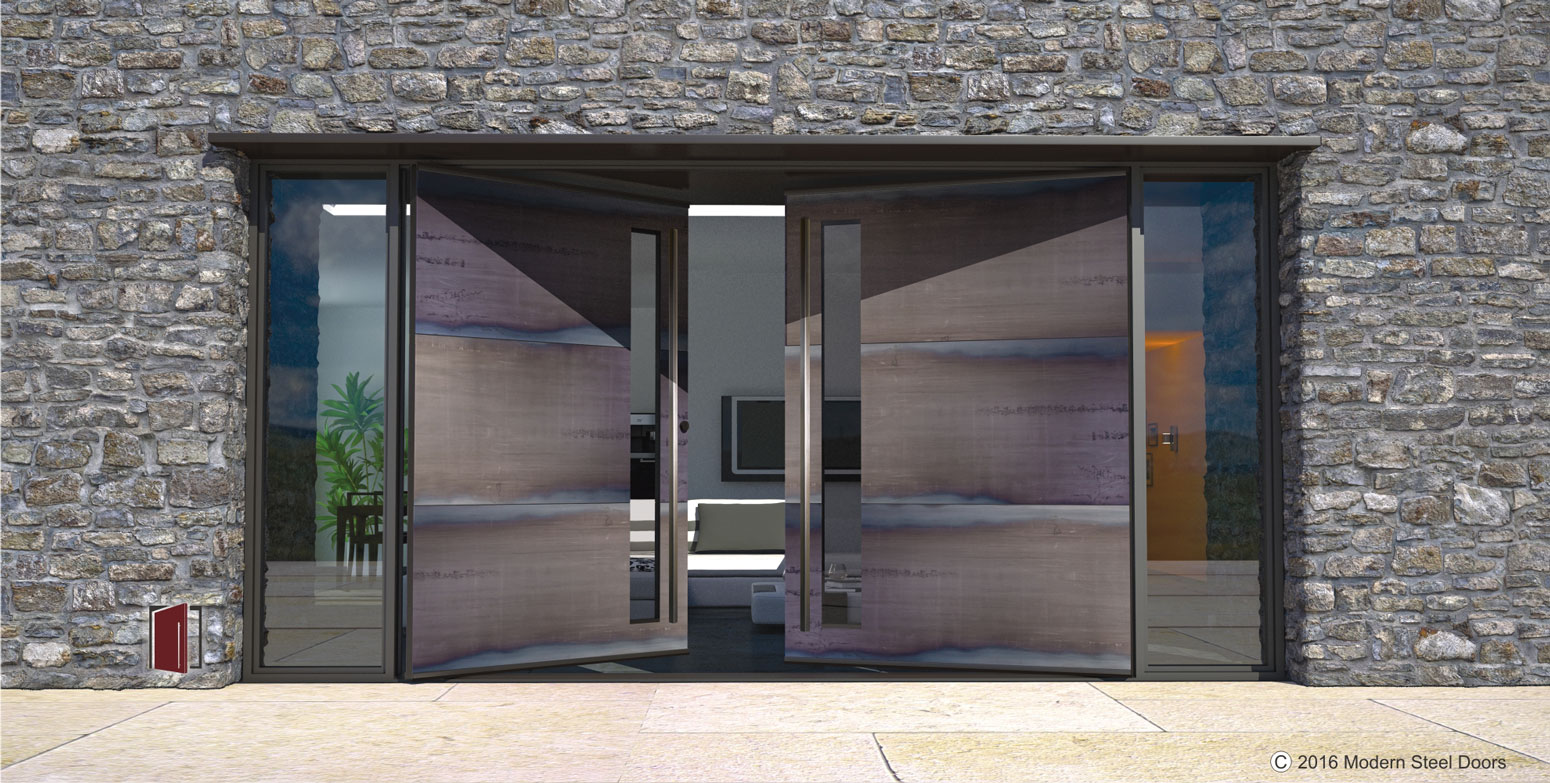 3 horizontally paneled corten double door with square brushed stainless pulls door lites - Modern prieel aluminium ...