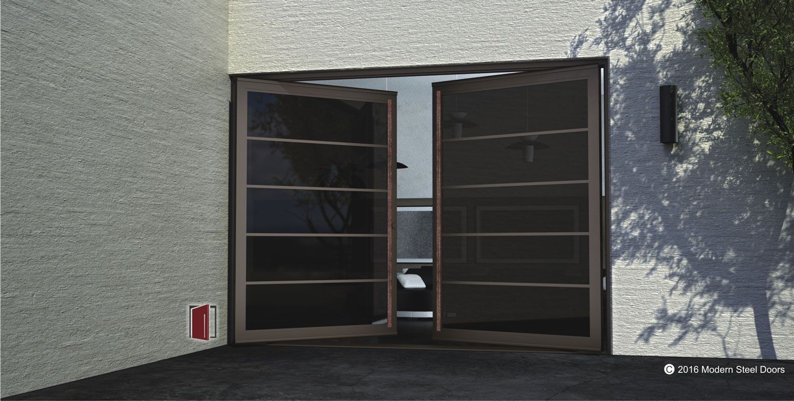 segmented double door with copper crater concise pull covers