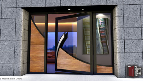 TEAK-WAVE-SINGLE-DOOR-WITH-BRUSHED-STAINLESS-ACCENT-&-SIDELIGHTS