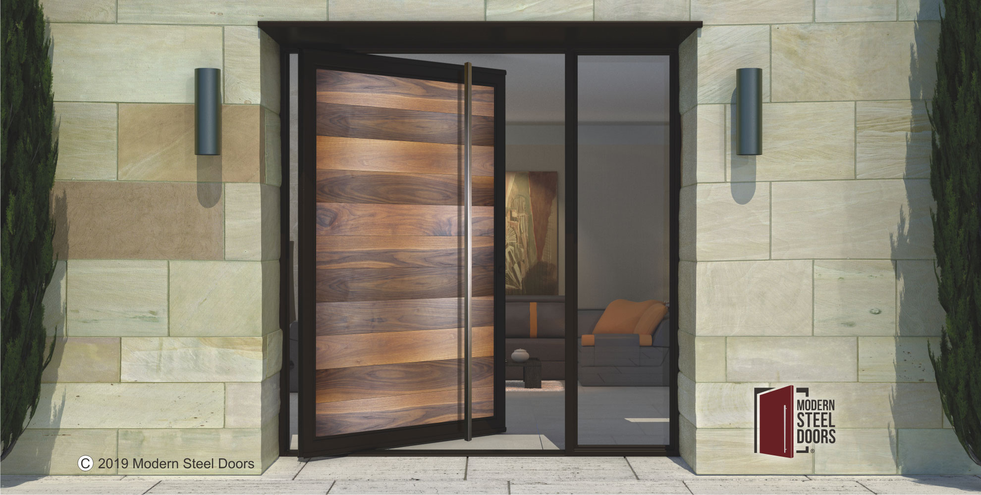 WALNUT-FULL-VIEW-SINGLE-DOOR-WITH-SQUARE-BRUSHED-STAINLESS-DOOR-LENGTH-PULLS-&-SIDELIGHT
