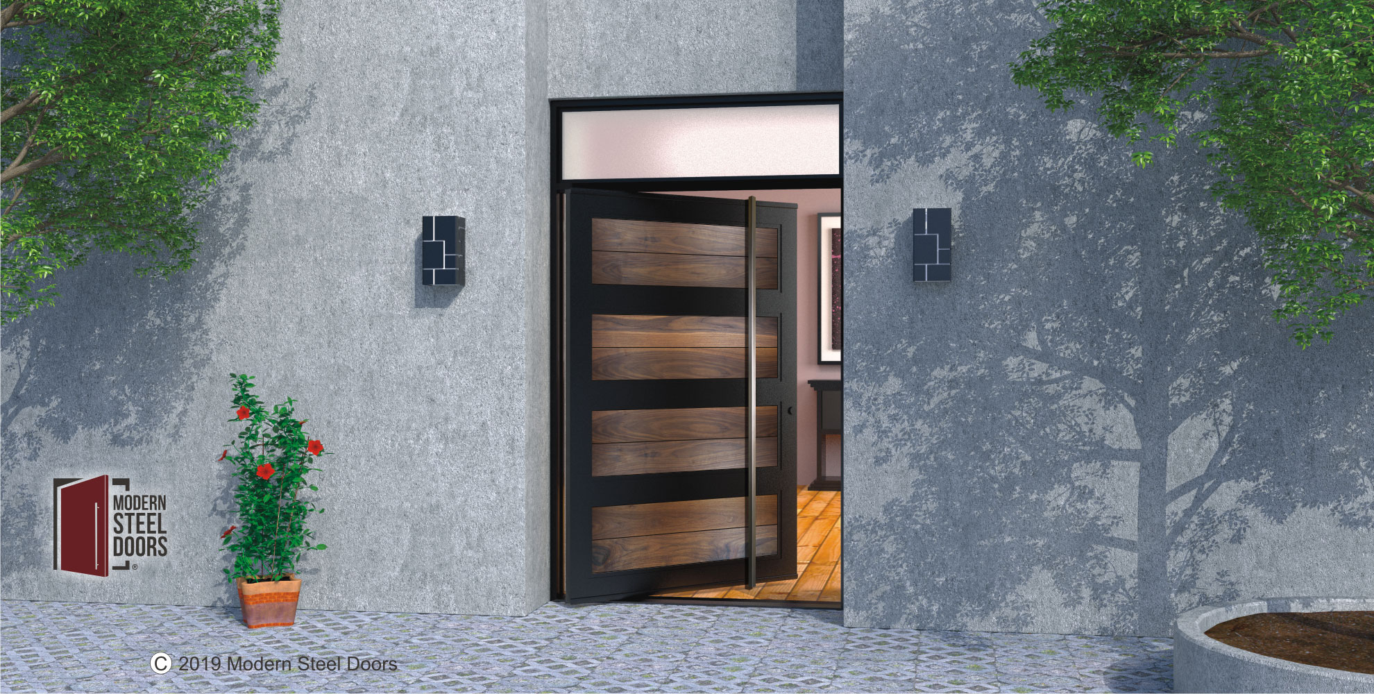 WALNUT-PARAGON-DOOR-WITH-SQUARE-BRUSHED-STAINLESS-DOOR-LENGTH-PULLS-&-TRANSOM