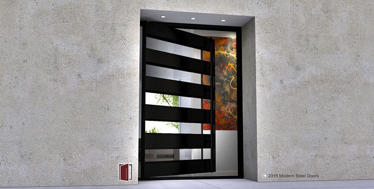 Handcrafted modern glass doors, glass and metal doors, modern front door designed and fabricated in USA by a pivot door company, Modern Steel Doors.