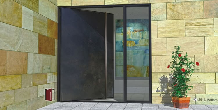 handcrafted metal doors pivot doors modern main door design and fabricated in tucson - Modern Glass Exterior Doors