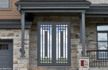 Metal, Glass and Steel Pivot Hinges Lloyd Wright Double Door With Hand Sculpted Serrated Pulls & Centerpieces Transitional Front Doors