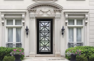 Available in standard or pivot hinges, metal, steel and glass Marseille Single Door Transitional Doors With Contrasting Rosettes & Hand Sculpted Antler Pulls