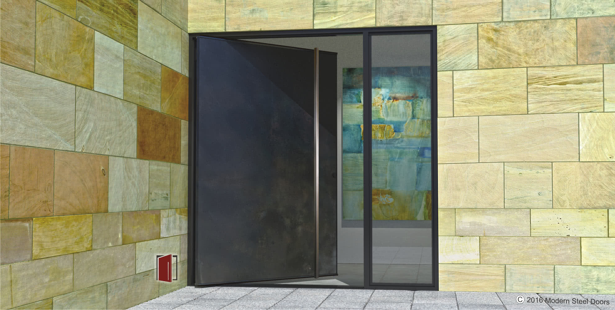 Metal Entrance Doors : Modern steel doors custom pivot glass