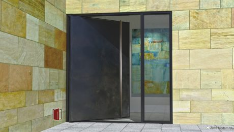 Metal pivot doors, metal doors, pivoting front doors handmade in Arizona USA bya pivot door company Modern Steel Doors