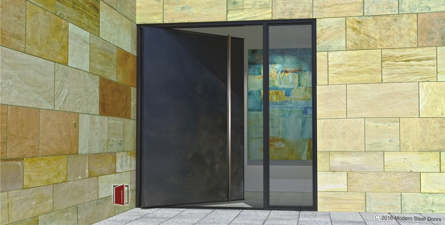 Blackened stainless single door with square brushed for Exterior door companies