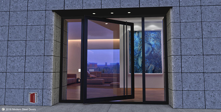 Hand-built glass doors fabricated with metal frame and pulls, contemporary design doors built in USA by Modern Steel Doors.