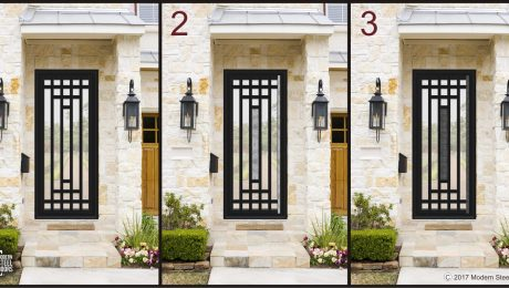Modern Transitional Doors Lloyd Wright Single Door Shown With & Without Hand Sculpted Features handcrafted from Metal door, steel door, glass door.
