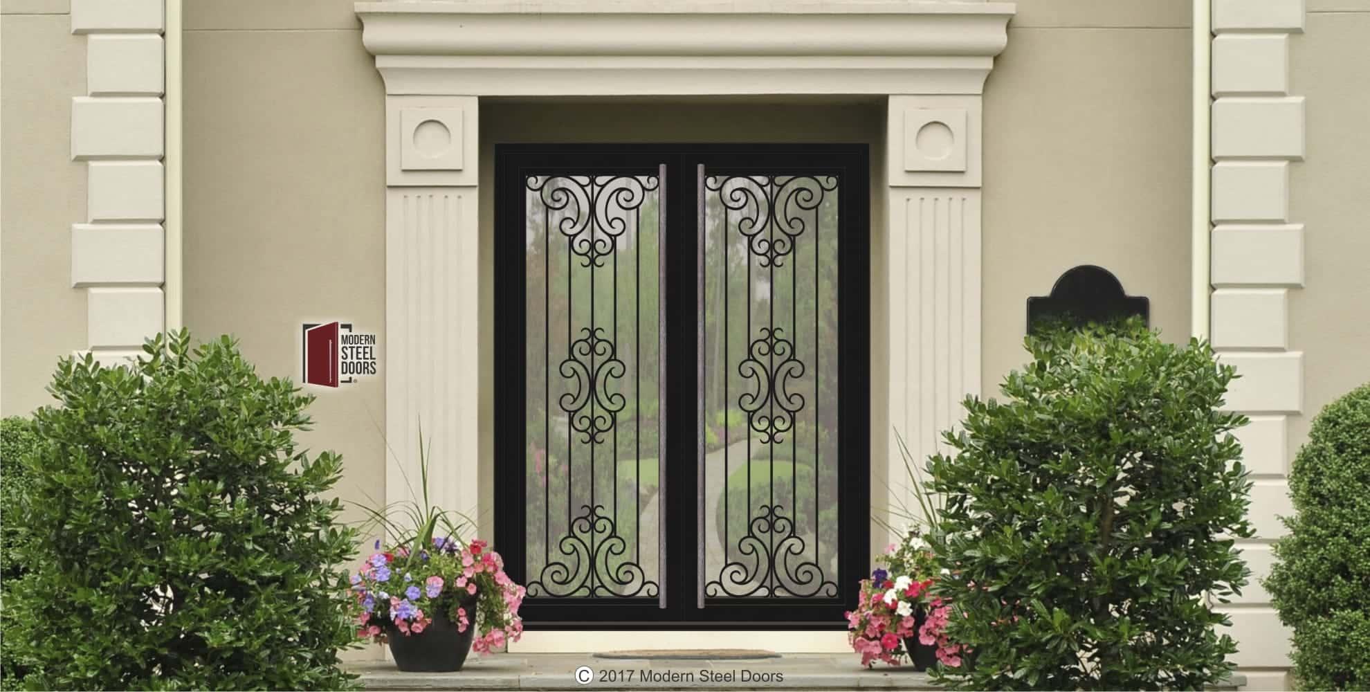 Pivoting door transitional doors style Paris Double Door With Hand Sculpted Antler Pulls & Center Design Transitional Doors